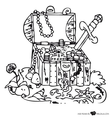 dibujo de un tesoro cofre del tesoro con joyas dibujalia dibujos para
