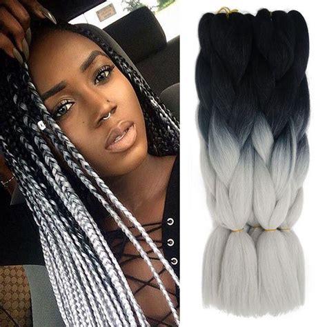 kanekolan hair black white grey cheap ombre xpression kanekalon braiding hair expression