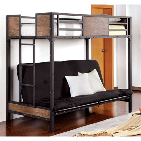 wood and metal futon bunk bed furniture of america industrial metal wood futon bunk bed