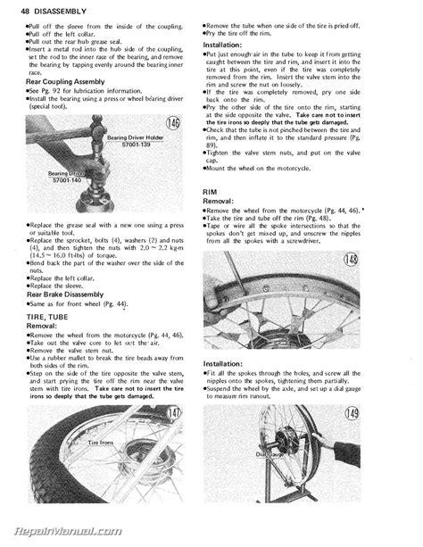 1971 1981 Kawasaki G5 Ke100 Motorcycle Service Manual Ebay