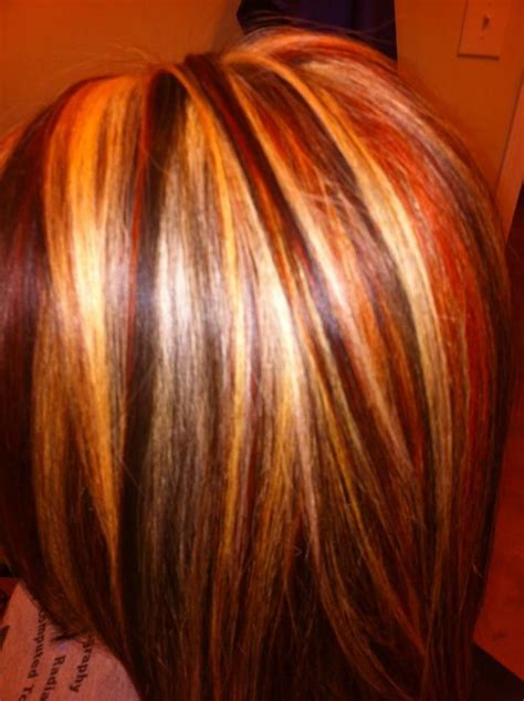 hair foils colour ideas foils red brown and blonde hair pretty hairstyle