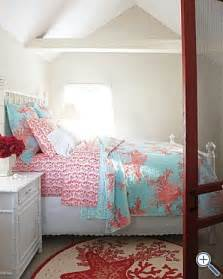 gorgeous coral and turquoise bedding college