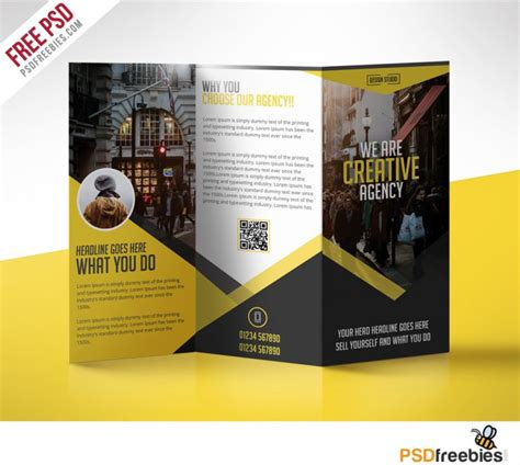 multipurpose trifold business brochure free psd template