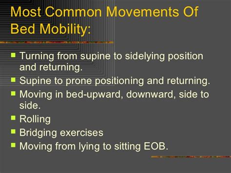 bed mobility positioning and draping and bed mobility power point