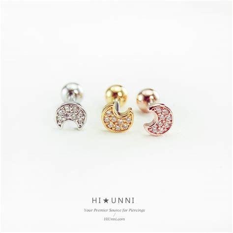 16g Crescent Moon Ear Cartilage 16g Moon Cartilage Earring Cz Ear Stud Helix Conch