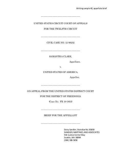Appellate Brief Briefformat Brief As Writing Sle