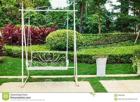 swing in the garden garden empty swing stock photo image 56685908
