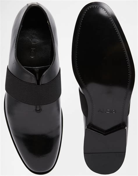 aldo elastic slip on shoe in black for lyst