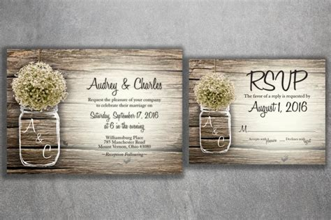 jar baby s breath flowers rustic wedding invitation set printed cheap wedding invitations