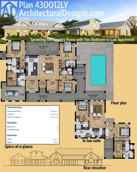 texas hill country home plan 36806jg 1st floor master hill country cottage floor plans gurus floor