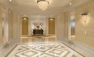 Elevator hall flooring and lighting design rendering