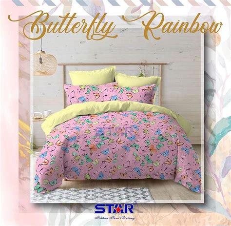 Harga Sprei Merk Rainbow detail produk sprei dan bedcover butterfly rainbow pink