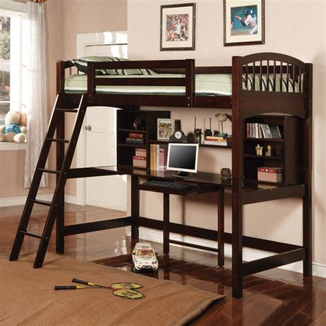 hayden espresso kids youth wood twin loft bed