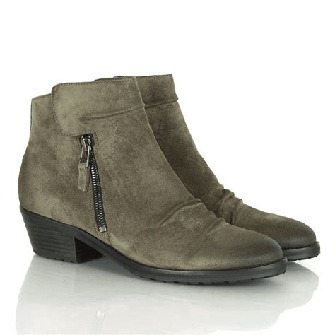 k s grey suede low heel ankle boot