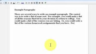 writing an exle paragraph