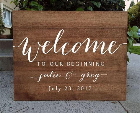 Wedding Bible To Sign by Rustic Wedding Sign Welcome To Our Beginning Wedding