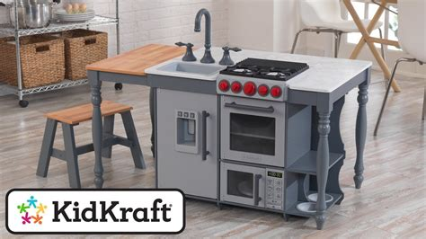 Kidkraft Wooden Play Kitchen Set With Stools by Chef S Cook N Create Island Play Kitchen With Ez Kraft