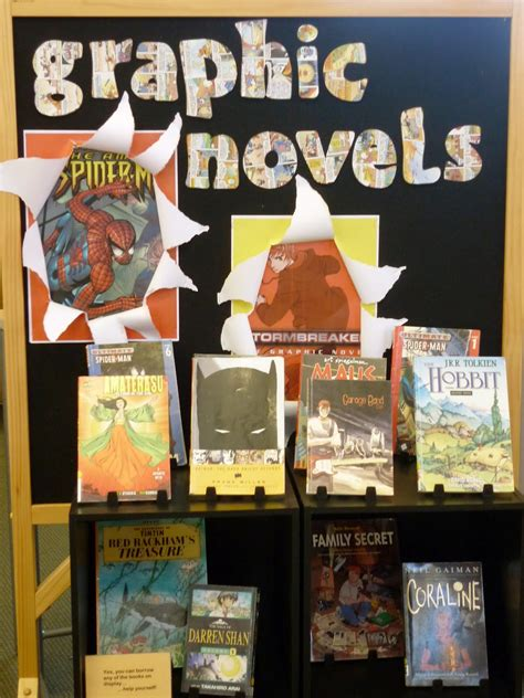 book display ideas library displays graphic novels