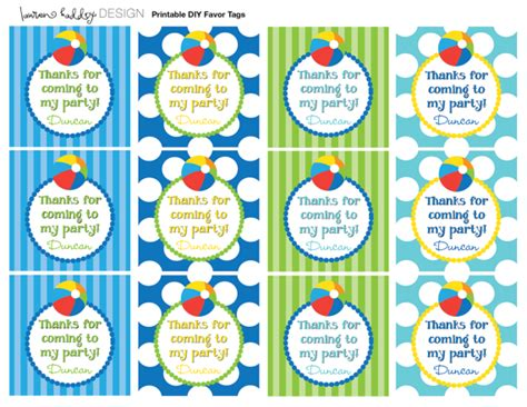 beach labels for party snacks summer beach party pool diy printable beach ball favor tags