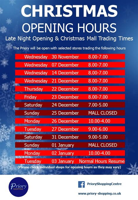 christmas late night shopping and opening hours priory