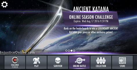 injustice mobile challenge ancient katana gear multiplayer challenge for injustice