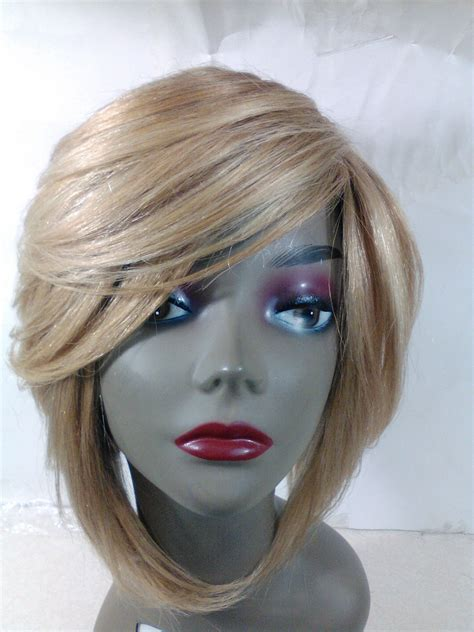 Handmade Wigs - yaki human hair handmade wig layered bob ajustable cap