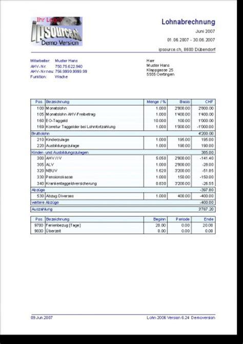 Muster Lohnabrechnung Schweiz Stundenlohn lohnabrechnung lohn 2006 6 0 kostenlose die