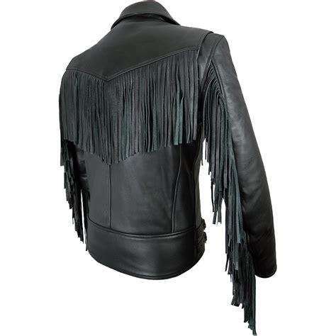 black motorcycle jacket mens mens elite fringed leather motorcycle jacket