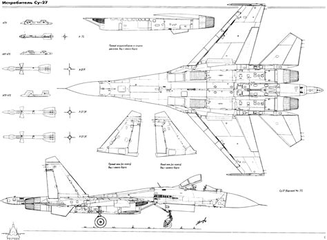 F Drawing Design by Sukhoi Su 27 Flanker Fighter