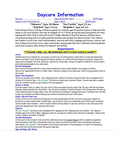 daycare information sheet template 50 information sheet exles sle templates