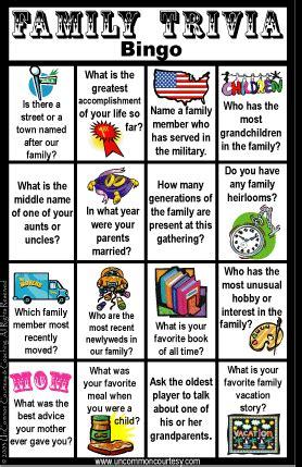 printable games for family reunion uncommon courtesy family trivia bingo