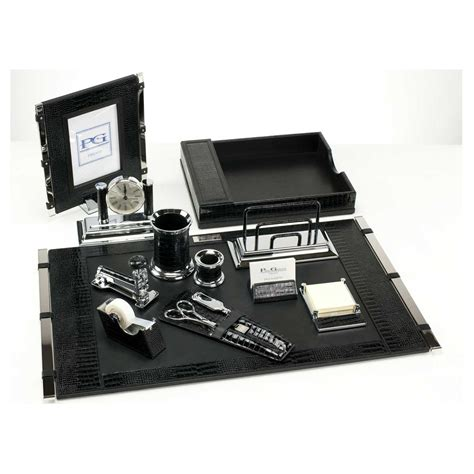 black mini crocodile premier leather desk set paolo guzzetta