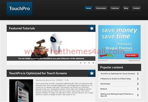 drupal themes with slider free download responsive touch pro blue drupal 7 theme download