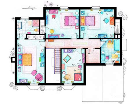 floor plan of friends apartment interesting detailed floor plans of famous tv shows by
