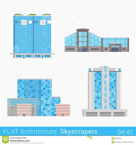 center layout elements flat style modern buildings skyscrapers set stock vector