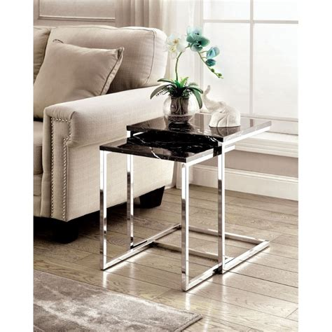 faux marble nesting tables furniture of america alena 2 faux marble nesting