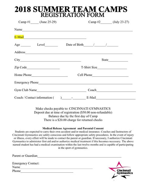 2018 Summer Team Cs Registration Form Cincinnati Gymnastics Home Of Olympic Chions Program Registration Form Template