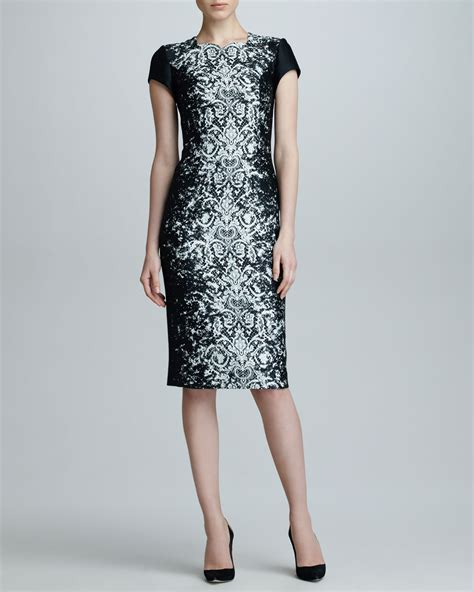 Dress Jaquard carolina herrera abstract lace jacquard dress black offwhite in black lyst