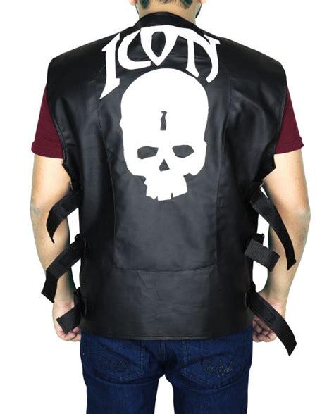 mens leather motorcycle vest mens skull icon biker leather vest top jackets