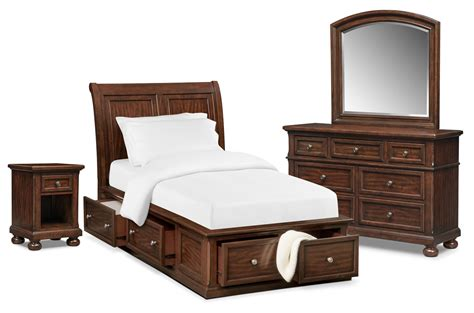 Hanover Youth 6 Piece Twin Sleigh Bedroom Set With Storage Storehouse Bedroom Furniture