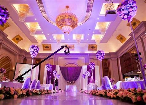 Wedding Hall Decorations   green wedding theme purple