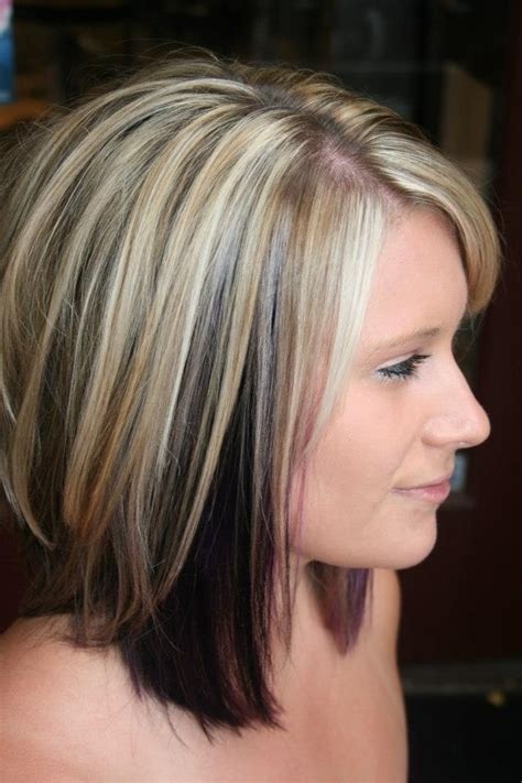 hair colors brown on bottom blonde on top may 2013 purple bottom blonde highlights on top
