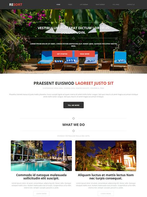 Beach Resort Web Template Resort Website Templates Dreamtemplate Resort Website Template