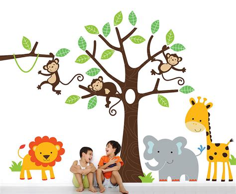 jungle wall stickers children s jungle wall sticker set by parkins interiors