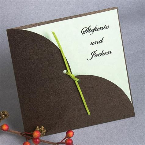 Hochzeitseinladungen Braun by 12 Besten Hochzeitseinladungen Mit Schleife Bilder Auf