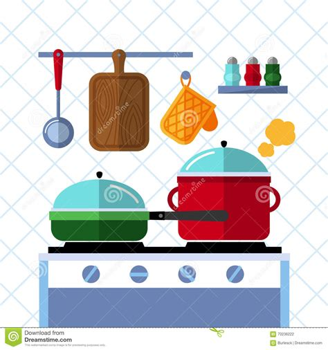 pots stock illustration image 45254770 pots and pans on a stove kitchen cooking flat vector