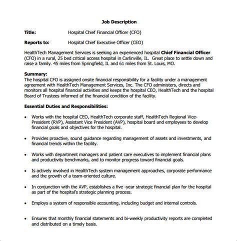 10 chief financial officer description templates free sle exle format