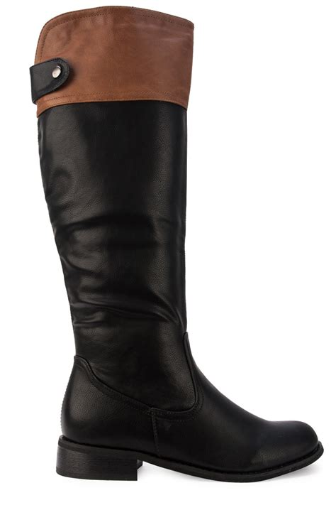 new womens black brown casual knee high