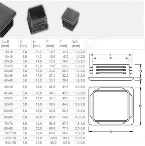 lenkappen 50x50 lamellenstopfen kunststoff f 252 r vierkantrohr rechteck
