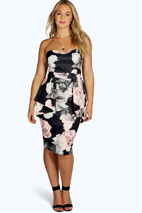 Promo Midi Dress Madoka Fanta plus becky floral peplum midi dress at boohoo
